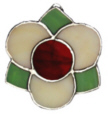 Medieval 3 Petal Flower-off-white with plum center